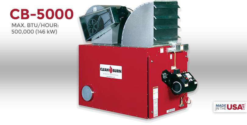 CB-5000, Waste Oil Furnace, Used Oil Furnace, Furnace, Clean Burn, Model CB-5000, 500,000 BTU/hr.